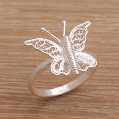 883515f70c89d Indonesian Handmade Sterling Silver Butterfly Cocktail Ring, 'Butterfly  View'
