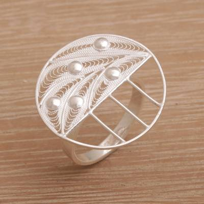 Sterling silver filigree cocktail ring, 'Quasar' - Modern Sterling Silver Filigree Cocktail Ring from Indonesia