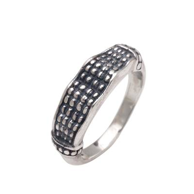 Sterling silver band ring, 'Textured Formation' - Handmade 925 Sterling Silver Textured Band Ring Made in Bali