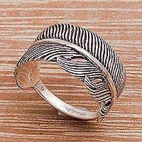 Sterling silver band ring, 'Focused Feather'