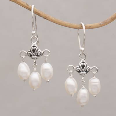 Cultured freshwater pearl dangle earrings, 'Winter Snowfall' - Cultured Freshwater Pearl Sterling Silver Dangle Earrings