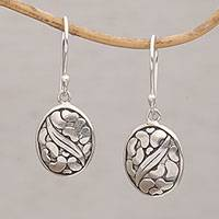 Sterling silver dangle earrings 'Pebbles & Leaf'