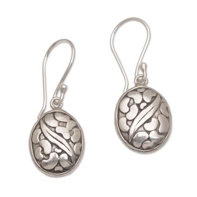 Sterling silver dangle earrings 'Pebbles & Leaf' - Handmade 925 Sterling Silver Oval Earrings Indonesia
