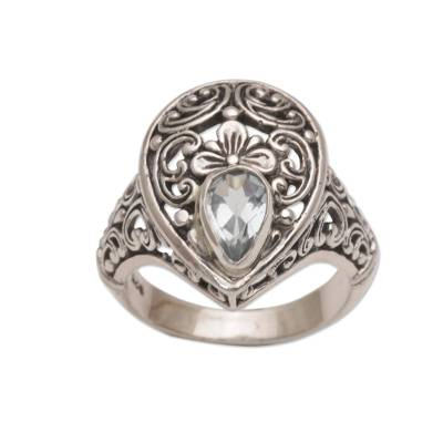 925 Sterling Silver Blue Topaz Floral Motif Cocktail Ring