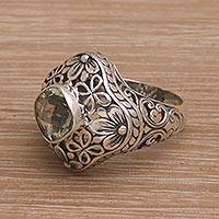 Prasiolite cocktail ring, 'Truth Flower' - Handmade 925 Sterling Silver Prasiolite Cocktail Ring