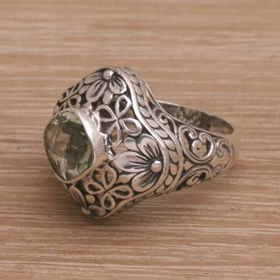 Prasiolite cocktail ring, Truth Flower
