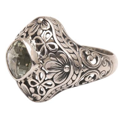 Handmade 925 Sterling Silver Prasiolite Cocktail Ring