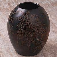 Decorative terracotta vase, 'Coconut Vibe' - Handcrafted Decorative Coconut Motif Etched Terracotta Vase