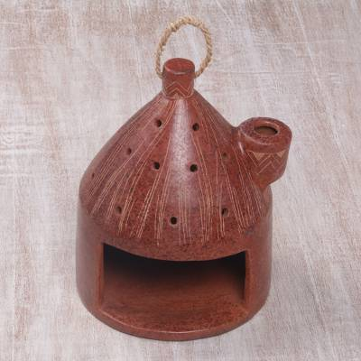 Ceramic birdhouse, 'Cozy Hut' - Artisan Made Terracotta Ceramic Birdhouse from Indonesia