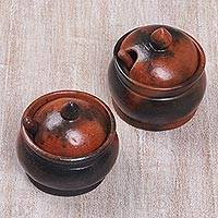 Ceramic sugar bowls, 'Sweet Lombok' (pair) - Pair of Ceramic Sugar Bowls Handcrafted in Indonesia