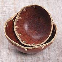 Ceramic snack bowls, 'Sunda Sunset' (pair) - Ceramic and Woven Pandan Leaf Bowls (Pair)