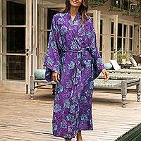Rayon batik robe, 'Daydream in Violet' - Purple Blue Batik Print Long Sleeved Rayon Robe with Belt