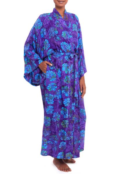 Batik rayon robe, 'Daydream in Violet' - Purple Blue Batik Print Long Sleeved Rayon Robe with Belt