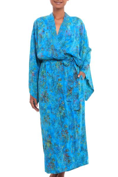 Batik rayon robe, 'Ocean Eden' - Turquoise Batik Long Sleeved Rayon Robe with Belt