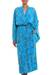Batik rayon robe, 'Ocean Eden' - Turquoise Batik Long Sleeved Rayon Robe with Belt thumbail