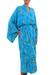 Batik rayon robe, 'Ocean Eden' - Turquoise Batik Long Sleeved Rayon Robe with Belt (image 2b) thumbail