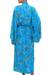 Batik rayon robe, 'Ocean Eden' - Turquoise Batik Long Sleeved Rayon Robe with Belt (image 2c) thumbail