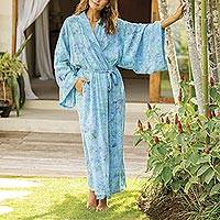 Batik rayon robe, 'Ubud Grove' - Green and Blue Batik Print Long Sleeved Rayon Robe with Belt