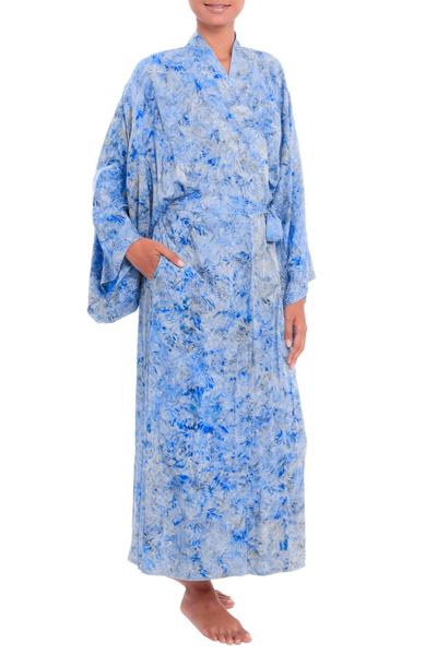 Batik rayon robe, 'Ubud Grove' - Green and Blue Batik Print Long Sleeved Rayon Robe with Belt