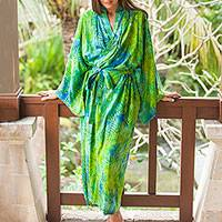Rayon batik robe, 'Leafy Haven' - Blue and Green Rayon Batik Leafy Garden Long Sleeved Robe