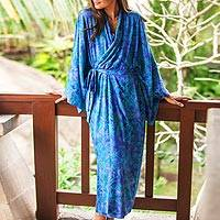 Rayon batik robe, 'Mystery Grove' - Blue and Green Batik Leaf Long Sleeved Rayon Robe with Belt