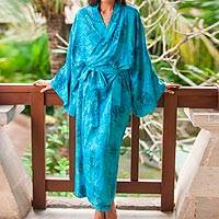 Rayon batik robe, 'Daylight Eden' - Blue and Green Rayon Morning Garden Batik Long Sleeved Robe