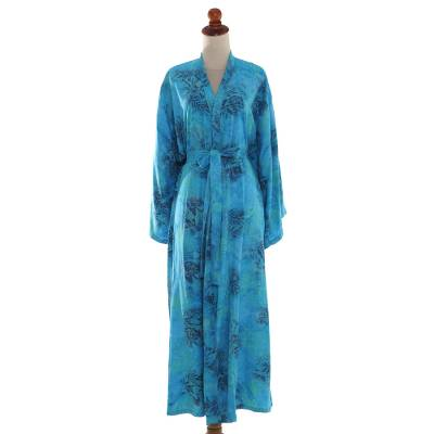 Rayon batik robe, 'Daylight Eden' - Blue and Green Rayon Morning Garden Batik Long Sleeved Robe