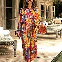 Batik rayon robe, 'Sunset Grove' - Red Orange Batik Print Long Sleeved Rayon Robe with Belt