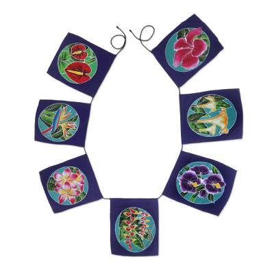Batik rayon wall hanging, 'Ethnic Petals' - Batik Rayon Wall Hanging with Floral Motifs from Bali
