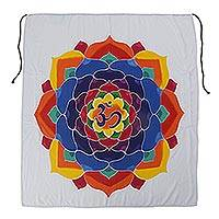 Batik rayon wall hanging, 'Meditation Bloom' - Batik Rayon Wall Hanging with Floral Om from Bali