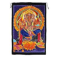 Featured review for Batik rayon wall hanging, Ganesha Glow