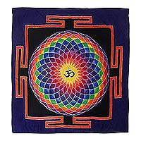 Batik rayon wall hanging, 'Om Dream in Black' - Colorful Om Batik Rayon Wall Hanging from Bali