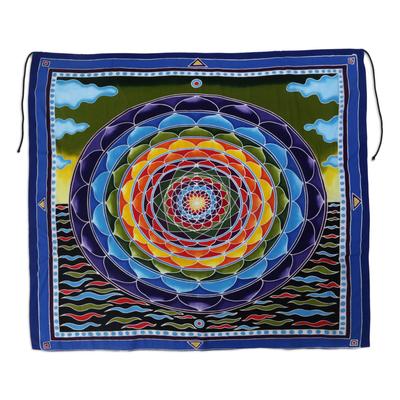 Batik rayon wall hanging, 'Psychedelic Petals' - Batik Rayon Wall Hanging with Colorful Floral Motif