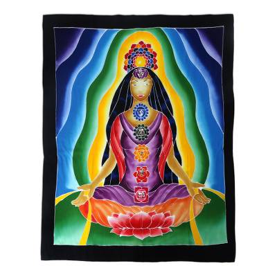 Batik rayon wall hanging, 'Beauty of Meditation' - Multi-Colored Aura Meditation Floral Rayon Wall Hanging