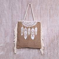 Jute tote bag, 'Dream Wanderer in White' - Handmade Jute Tote Bag with White Dream-Catcher Motif