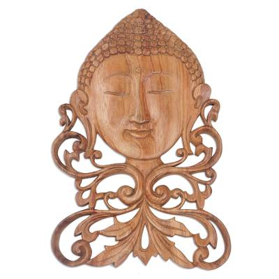 Balinese Suar Wood Buddha Wall Relief Panel