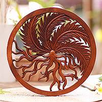 Wood relief panel, 'Growing Fern' - Balinese Hand Carved Suar Wood Plant Motif Wall Relief Panel