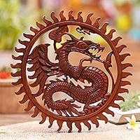 Wood wall relief panel, 'Dragon Age' - Hand Carved Balinese Dragon Suar Wood Wall Relief Panel