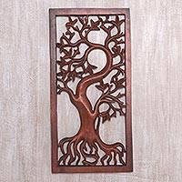 Wood wall relief panel, 'Growing On' - Hand Carved Balinese Suar Wood Tree Wall Relief Panel