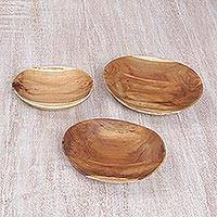 Teakwood nesting dishes, 'Curvilicious' (set of 3) - Carved Natural Teakwood Set of Three Serving Platters
