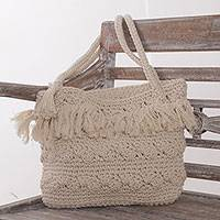 Cotton shoulder bag, 'Kuta Rumbai' - Handwoven Ivory Cotton Shoulder Bag from Bali