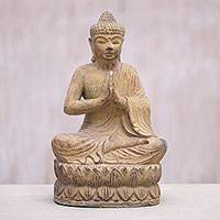 Stone sculpture, 'At Peace' - Cast Stone Lotus Buddha Sculpture