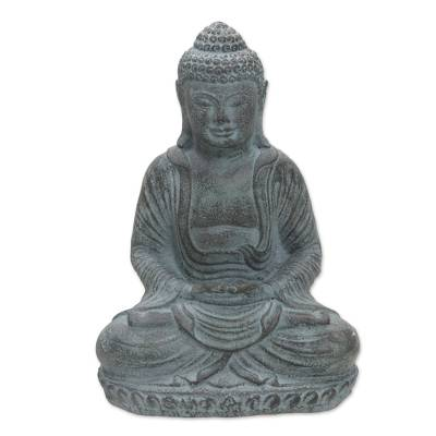 Artisan Crafted Meditating Buddha Cast Stone Sculpture
