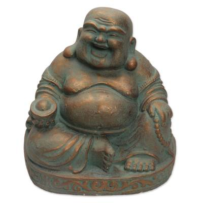 Artisan Crafted Laughing Buddha Cast Stone Sculpture