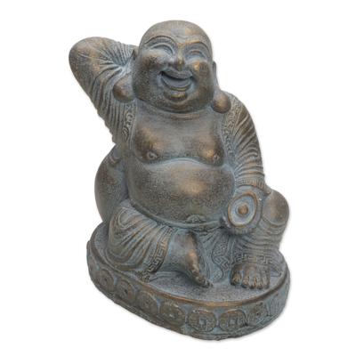 Cast Stone Laughing Fortune Buddha Antique Finish Sculpture