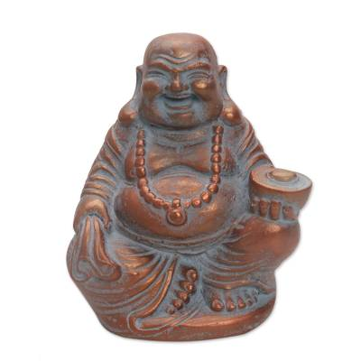 Hand Made Cast Stone Statuette of Laughing Buddha