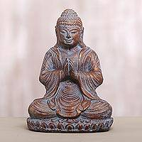 Cast stone sculpture, 'Peaceful Meditation' - Cast Stone Meditating Buddha Antique Finish Sculpture
