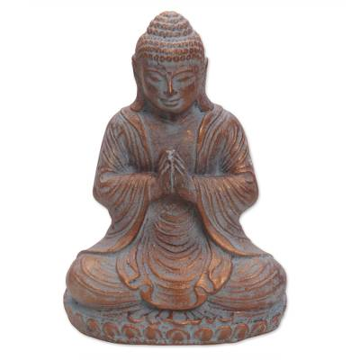 Cast Stone Meditating Buddha Antique Finish Sculpture