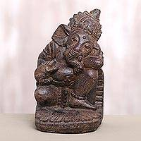 Stone tealight candle holder, 'Dreamy Ganesha' - Cast Stone Ganesha Tealight Candle Holder Made in Bali
