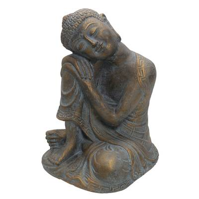 Artisan Crafted Cast Stone Resting Buddha in Antique Finish